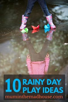 Encourage the kids to play outside in the rain with these super play activities and rain based kids crafts Rain Day Activities, Forest School Activities, Rainy Day Activities For Kids, Eyfs Activities, Rainy Day Fun, Outdoor Activities For Kids, Preschool Activities, Rainy Days, Spring Activities