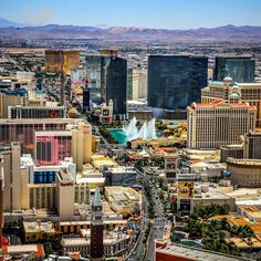 """""""There's no place like #Vegas"""".  A fairly recent photo looking south down the strip."""