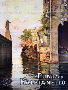 TRAVEL TOURISM BALBIANELLO LAKE COMO ITALY VINTAGE ADVERTISING POSTER ART 2308PY