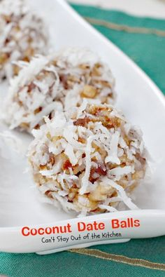 Coconut Date Balls | Can't Stay Out of the Kitchen. These are just like the recipe (from my Mom) I made for our cookie exchange this year. I actually used a little melon baller scoop and made smaller and then rolled in coconut and chilled. Then place in a candy size cupcake paper liner. Very festive!