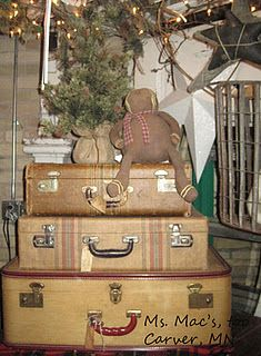 Vintage Suitcases Display #vintage #antique #christmas #holiday #display #shabbychic #cottage #decor #antiqueshop #minnesota #msmacsantiques #suitcases