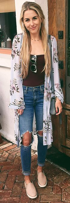 #spring #outfits Blue Printed Cardigan & Destroyed Jeans