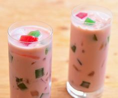 Buko Salad Drink-A tropical drink made with coconut, gelatin, tapioca pearls and palm fruits.