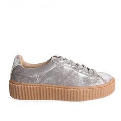 Yinka Creepers In Grey Crushed Velvet