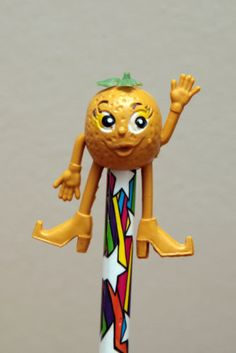 1970s MUNCH BUNCH PENCIL TOPPER ORANGE (one of a series that came from a cereal packet)