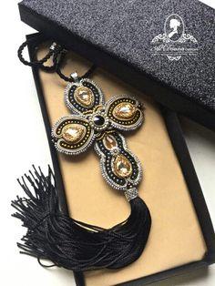 Ribbon Jewelry, Bead Embroidery Jewelry, Beaded Embroidery, Soutache Pendant, Soutache Necklace, Earrings, Merian, Beaded Cross, Passementerie