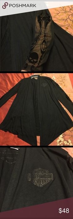 Harley Davidson Cover Up Stunning Harley Davidson Cover Up. New no tags, never worn. All black with crystal bling logos on front and back. Sheer sleeves with velvet skulls. Rayon/spandex. Size is Small/Medium. Open front, no fasteners. Harley-Davidson Tops