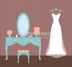 Vector Art : Wedding Dress; Vintage Dressing Table; Flat Vector Illustration