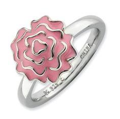 Sterling Silver Stackable Expressions Carnation #spring #carnation #pink #rose #flower  Ring QSK927