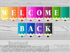 pencils, welcome back printable banner, back to school decorative garland, colored, instant download