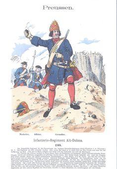 Band III #1.- Preußen: Infanterie-Regiment Alt-Dohna. Musketier. Offizier. Grenadier. 1709.