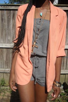 pink peach blazer with gray romper
