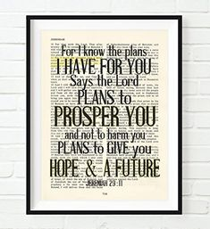 Vintage Bible Upcycled page verse scripture For I know the Plans Jeremiah 29:11 Christian ART PRINT, UNFRAMED, dictionary wall & home decor poster, Inspirational gift Bible verse black & white wall art decor print #ad
