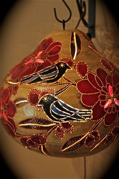 Original Painting, Birds, Wall art, Gourd lamp glass beadwork Collectible, Home Decor, Beach Cottage Decor, Red