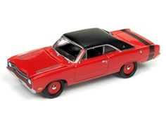 Johnny Lightning Muscle Cars 1969 Dodge Dart (Bright Red with Flat Black Roof and Stripes) 1:64 Scale Diecast