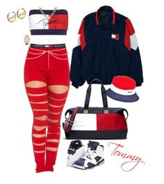 """""""Tommy"""" by kenni35 ❤ liked on Polyvore featuring Tommy Hilfiger, Juicy Couture, Michael Kors, Gioelli Designs, ASOS and NIKE"""