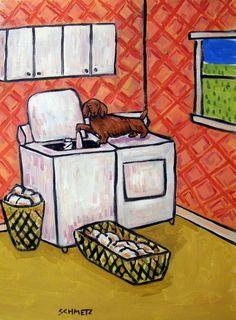 dachshund laundry dog signed art print animals impressionism artist 11x14 #Impressionism
