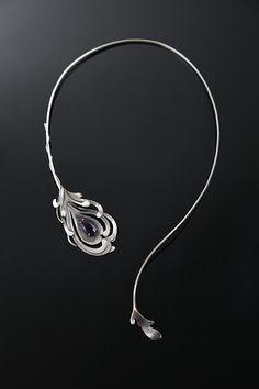 peacoc feather / silver necklace / srebrny / naszyjnik / ametyst / Sztuk Kilka