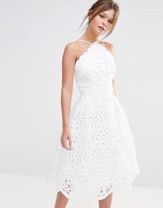 Chi Chi London High Neck Cutwork Midi Prom Dress