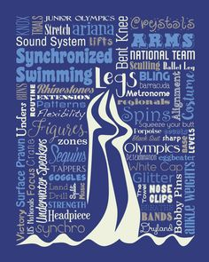 """Original artwork using words to describe """"Synchronized Swimming"""" -- Dress up a room in your home with this sports-themed print that details the many words for all things synchro like goggles, sculling, swimming pool, and more. Come visit the Lexicon Delight Etsy store!"""