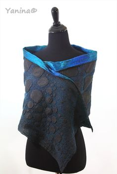 Winter fashion Nuno felted black teal texture scarf by nafanyafelt
