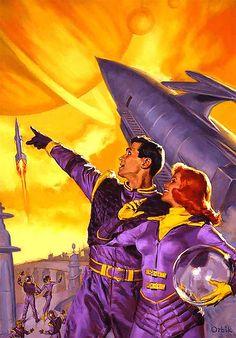 Orbik ( Rocket ship / Outer Space / Space Age Illustration / Saturn / Retro Futurism / Vintage Future / Science Fiction )