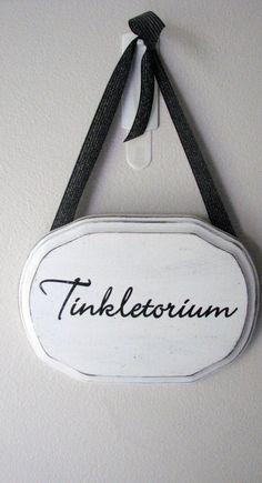 Handmade Tinkletorium Bathroom Sign Black and White. $10.00, via Etsy.