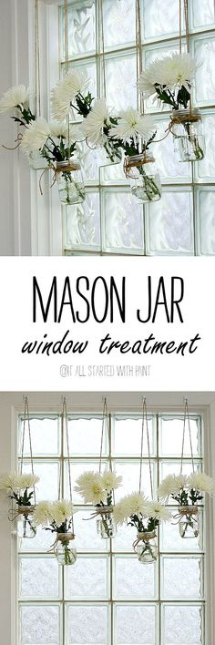 Mason Jar Vases - Mason Jar Window Treatment