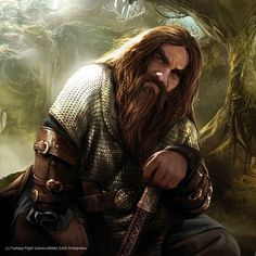 Dwarf with long auburn hair and beard wearing a chain shirt and leather greaves.