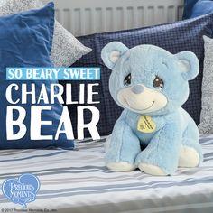 Take your blues away with our 'bear-y' sweet, 'bear-y' blue, 'bear-y' cute Charlie Bear!  Send this huggable gift to your favorite little tyke today. #PreciousMoments #LifesPreciousMoments #TeddyBear #StuffedAnimal #AuroraWorld