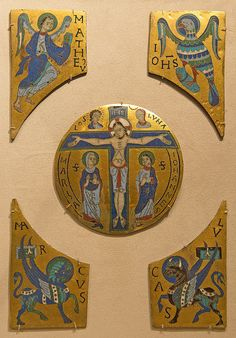 The-Crucifixion-with-Symbols-of-the-Evangelists--Date--ca.-1100 | by renzodionigi