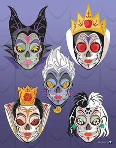 Omg!! I had such a hard time figuring out what board to pin this to!! Disney Villain sugar skulls