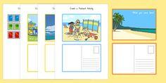 Create a Postcard Activity Seaside, Activities, Black And White, Create, Summer, Summer Time, Black N White, Beach, Black White