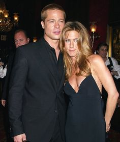 "Jennifer Aniston and Brad Pitt Brad Pitt and Jennifer Aniston married in 2000 in a lavish Malibu wedding, but their marriage quickly became Internet fodder. Things heated up when Pitt starred opposite his future wife Angelina Jolie in 2005 film ""Mr. and Mrs. Smith."" Turns out the speculation was right, and the couple announced their split after five years of marriage."
