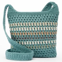 Croft & Barrow® Crochet Harmony Crossbody Bag, Women's, Valley Stripe (290 NOK) ❤ liked on Polyvore featuring bags, handbags, shoulder bags, valley stripe, shoulder handbags, purse crossbody, handbags purses, crochet shoulder bag and green purse