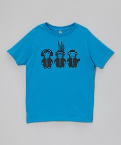 Dark Turquoise Monkeys Tee - Toddler & Boys