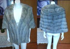 AMAZING 1950s Silver Gunmetal Gray MINK Stole Shawl Shrug Cape Wedding Fur WeddingCape   by WestCoastVintageRSL, $288.00