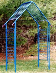An Arbor made of a baby's crib frames. This has been powder coated, meaning the paint will last for decades ~ This is such a clever idea!