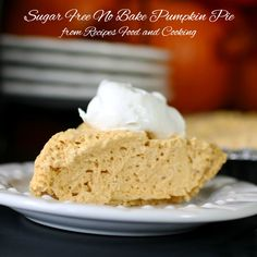 Sugar Free Pumpkin Cheesecake Pie - Recipes Food and Cooking Creamy and lightly spiced pumpkin cream cheese pie. No Bake Pumpkin Cheesecake, No Bake Pumpkin Pie, Cheesecake Pie, Baked Pumpkin, Pumpkin Spice, Healthy Pumpkin, Sugar Free Cheesecake Recipe No Bake, Cheesecake Recipes, Pie Recipes