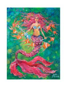 My newest Mermaid t-shirt Leoma Lovegrove Collection - Mermaid luv everything Leoma! Mermaid Wall Art, Mermaid Fairy, Mermaid Gifts, Unicorns And Mermaids, Mermaids And Mermen, Artist Biography, Merfolk, Painting Edges, Beach Art