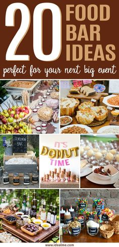 One trend that we've fallen in love with lately is the food bar. Check out these 20 fun food bar ideas that'll be perfect for your next big event. food bar 20 Food Bar Ideas Perfect for Your Next Event - Ideal Me Party Food Bars, Snacks Für Party, Party Appetizers, Party Food Menu, Party Buffet, Party Food Themes, Party Party, Appetizer Recipes, Pasta Bar