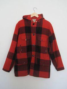 Johnson Woolen Mills Buffalo Plaid Wool Hunting Coat