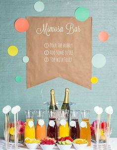 Can't wait to plan my romantic engagement brunch... I'm so doing a mimosa bar like this one