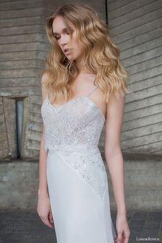 limor rosen bridal 2015 sophia sleeveless wedding dress straps embellished lace bodice close up