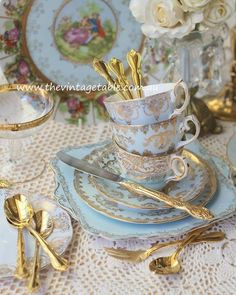 Teacups and Saucers all ready for Afternoon Tea
