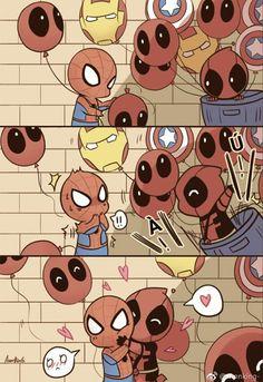 Spideypool, Superfamily Avengers, Marvel Cartoons, Funny Marvel Memes, Marvel Jokes, Marvel Comics, Funny Comics, Chibi Marvel, Marvel Art