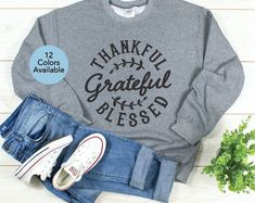 Etsy :: Your place to buy and sell all things handmade Thanksgiving Shirts For Women, Fall Words, Crew Neck Shirt, T Shirt, Cut Sweatshirts, Thankful And Blessed, Fall Shirts, Shopping Websites, Graphic Sweatshirt