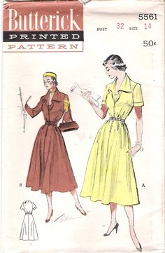 Vintage1950s Dress with Flyaway Collar, Butterick 5561, offered on Etsy by GrandmaMadeWithLove, $10.00