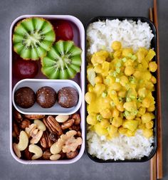 pineapple curry rice -On the left side is one kiwi, 2 huge grapes, 3 bliss balls (basic recipe is on blog, recipes @elavegan