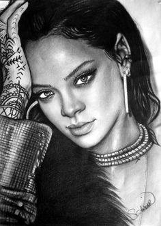 Charcoal Drawing Rihanna
